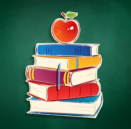 Sticker with pile of books and apple.
