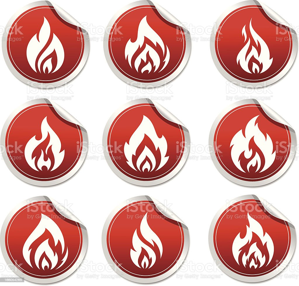 sticker with symbol flame vector art illustration