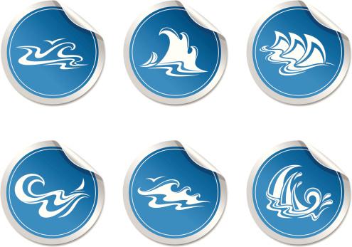 sticker with symbol  wave