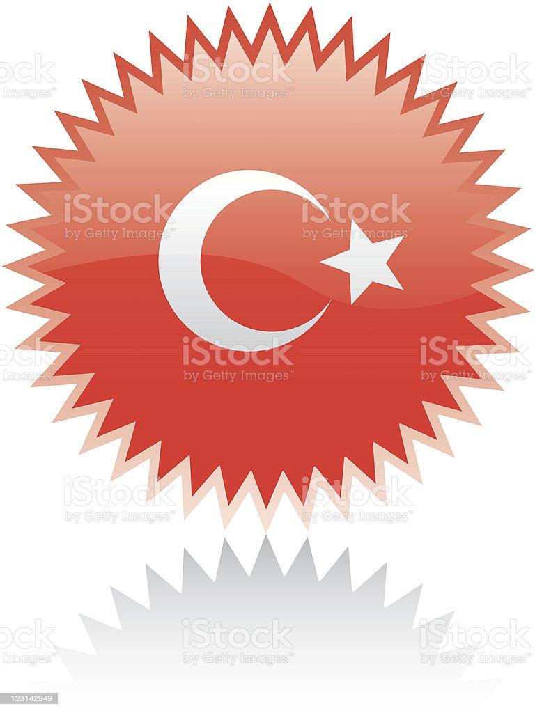 Sticker with Turkish flag vector art illustration