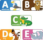 stickers alphabet animals from A to E