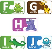 stickers alphabet animals from F to J