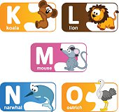 stickers alphabet animals from K to O