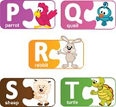 stickers alphabet animals from P to T