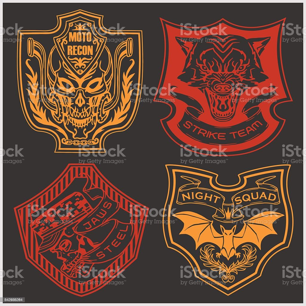 Stickers and patches for bikers vector art illustration
