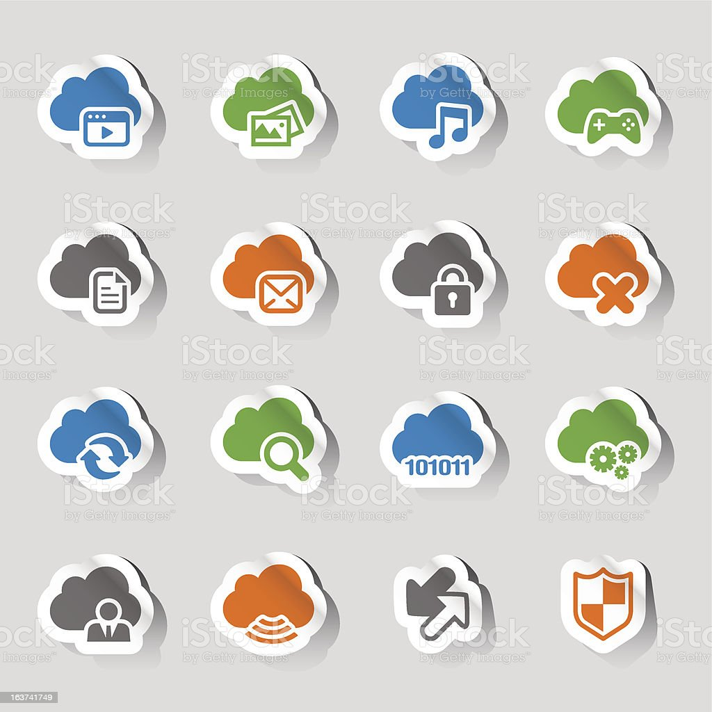 Stickers Cloud Computing Icons Stock Illustration   Download Image ...