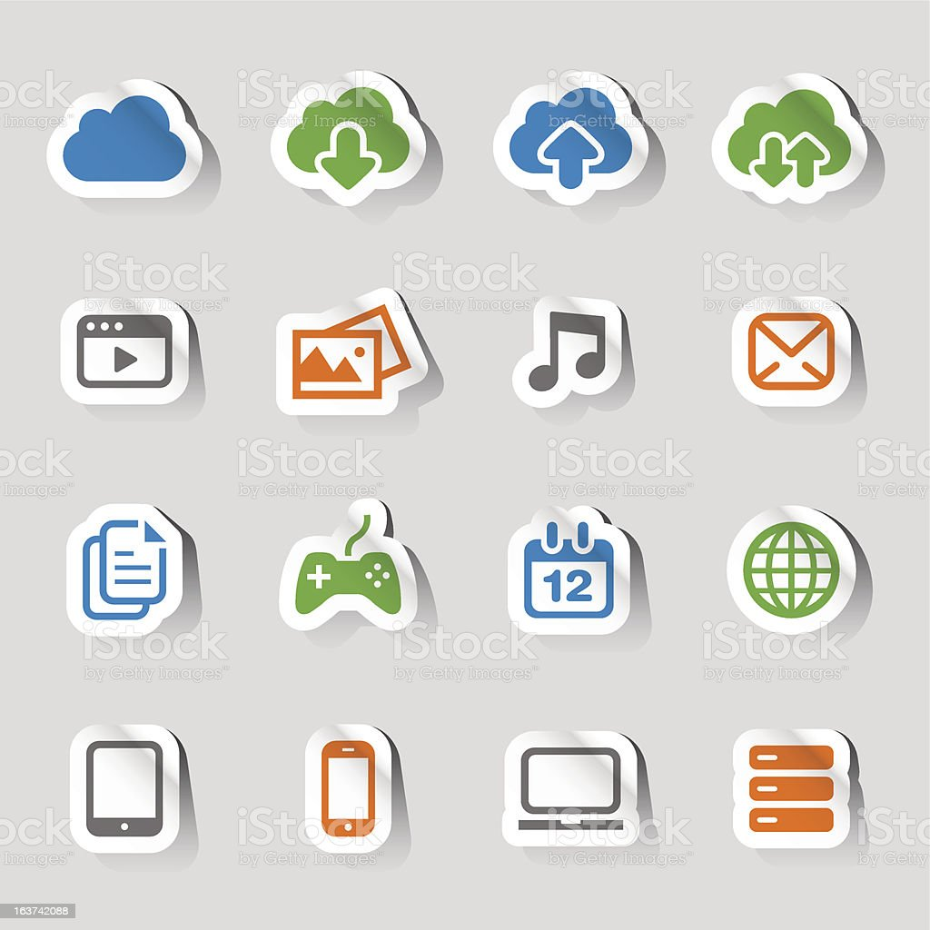 Stickers - Cloud computing Icons royalty-free stock vector art