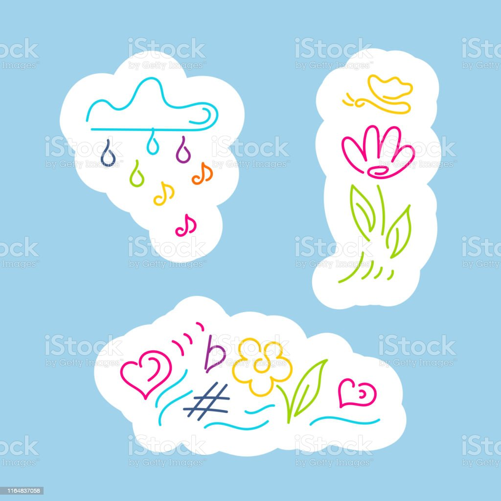 Stickers Cloud With Rain Of Notes Flower Butterfly Rainbow Musical ...