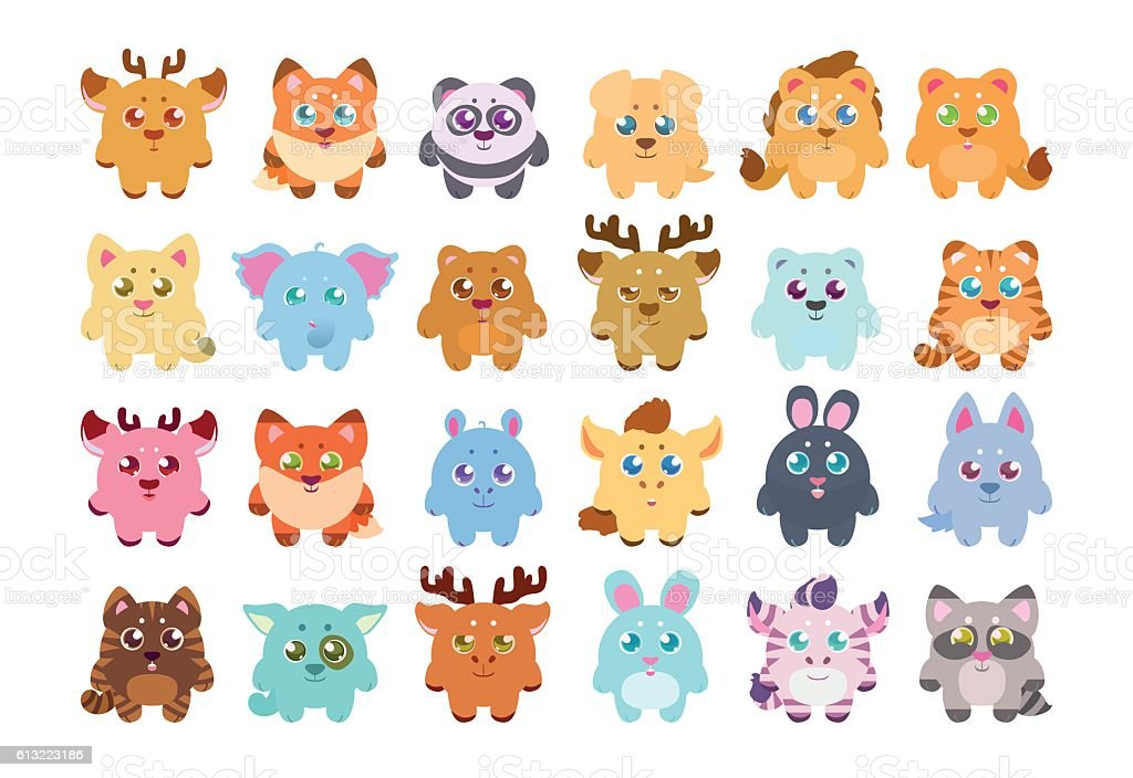 stickers collection cute cartoon baby animals stock vector