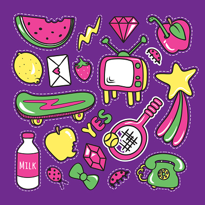 Stickers collections in pop art style