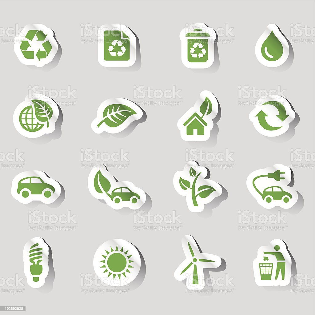 Stickers - Ecological Icons royalty-free stock vector art