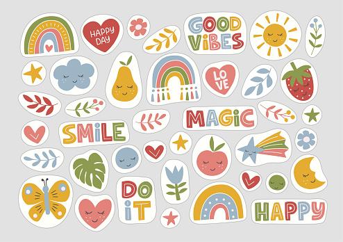 Stickers flat vector illustration.