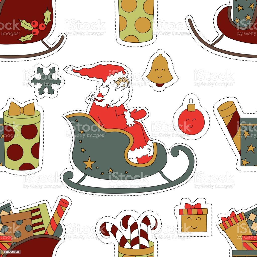 Aufkleber Für Weihnachten Geschenke Süßigkeiten Und Santa Claus ...