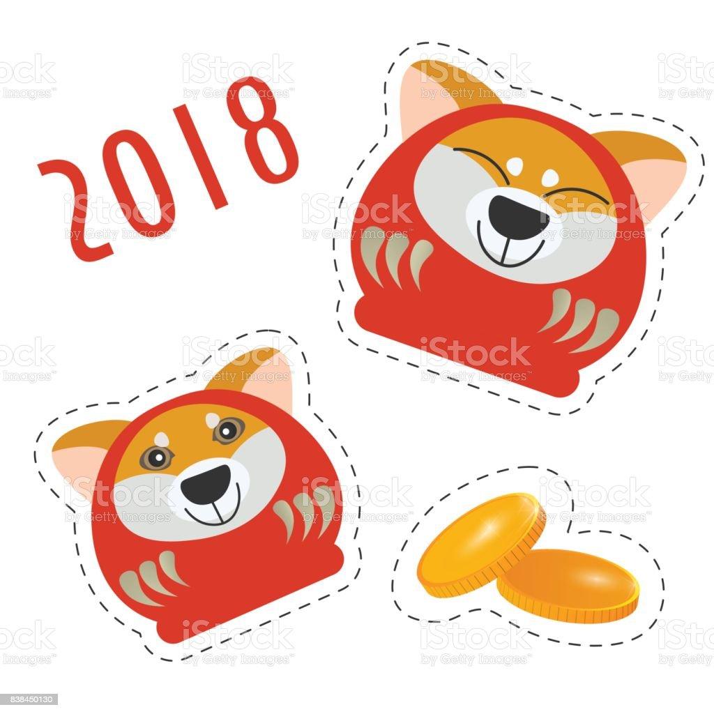 stickers for lunar new year festivity cute japanese traditional daruma dolls with a shiba inu cute shiba inu clipart shiba inu clip art good job