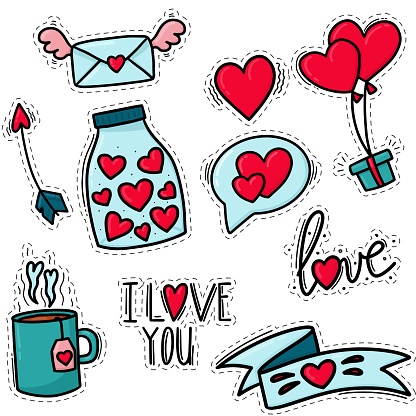 Stickers for valentine's day. Doodle style love stickers.