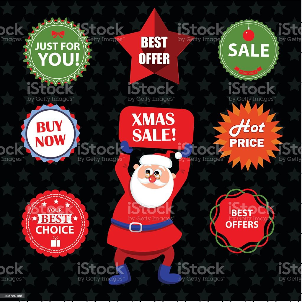 stickers for winter sale vector art illustration