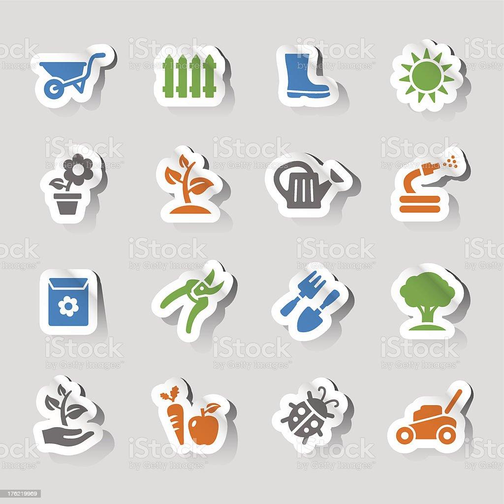 Stickers - Gardening icons vector art illustration