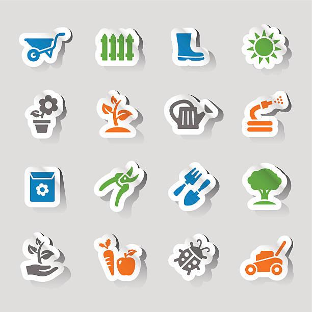 aufkleber-gartenarbeit symbole - gartendekorationen stock-grafiken, -clipart, -cartoons und -symbole