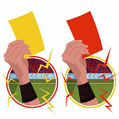 Stickers hands holds yellow red card