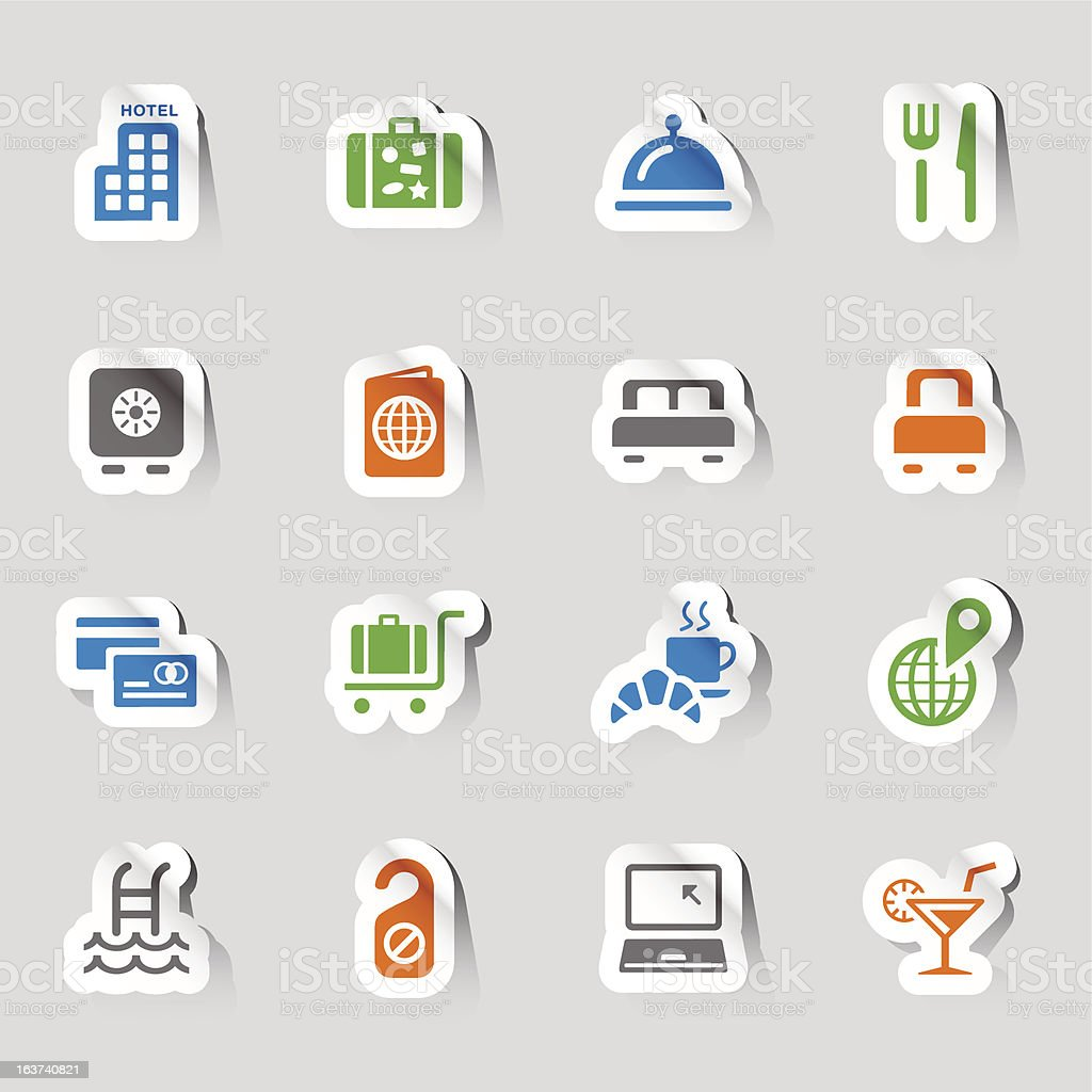 Stickers - Hotel and Resort Icons vector art illustration