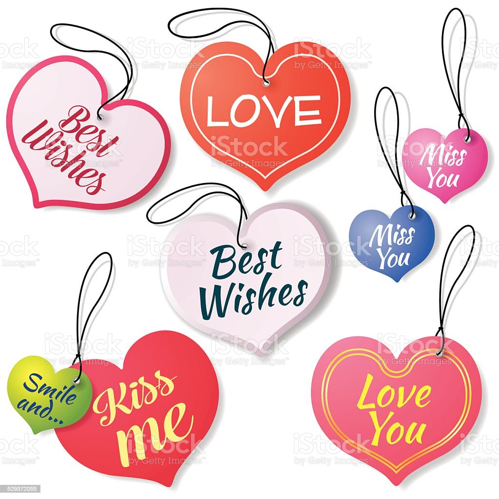 Stickers Labels Heart With Messages Of Love Stock Vector Art & More