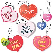 Vector Illustration with a Set of Stickers Labels with love messages