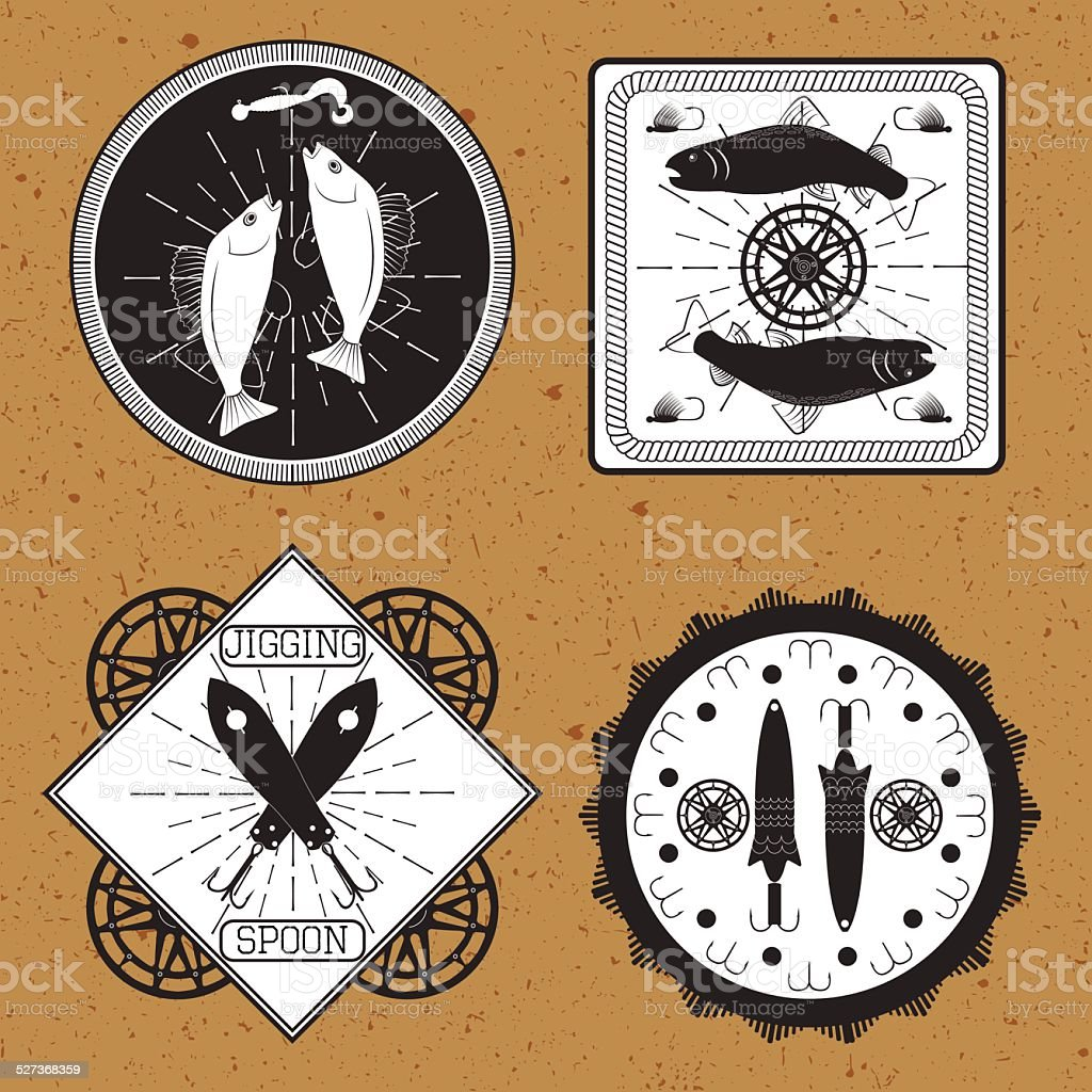 Stickers, labels on the theme of fishing vector vector art illustration