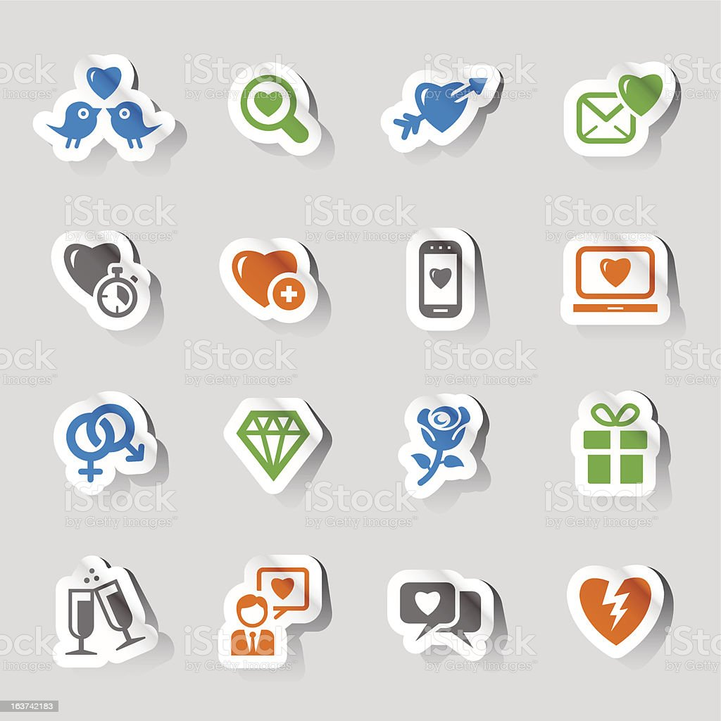 Stickers - Love and Dating icons vector art illustration