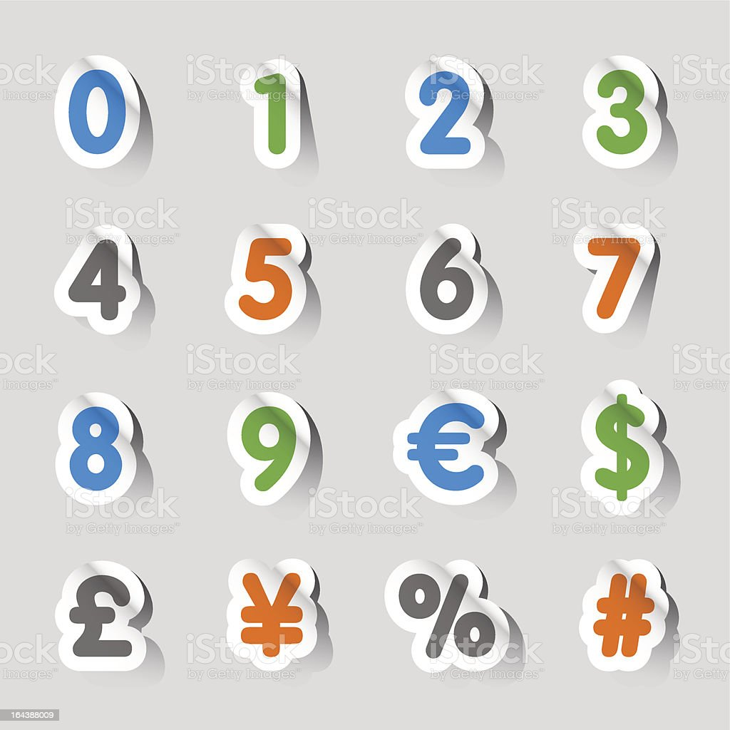Stickers - Numbers Icons royalty-free stock vector art