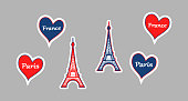 Vector illustration of Stickers of Eiffel Tower