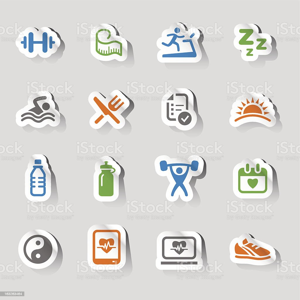 Stickers of health and fitness icons in various colors royalty-free stock vector art