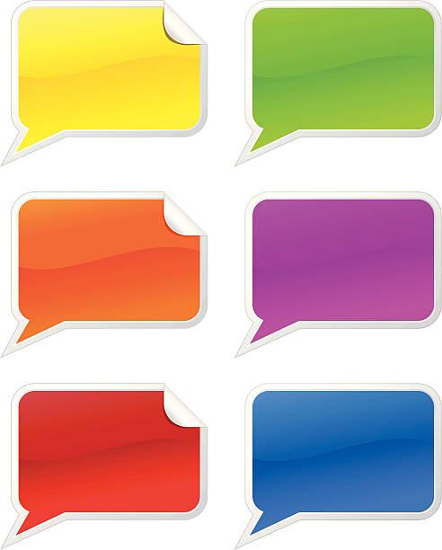 Stickers of multi-colored speech bubbles vector art illustration