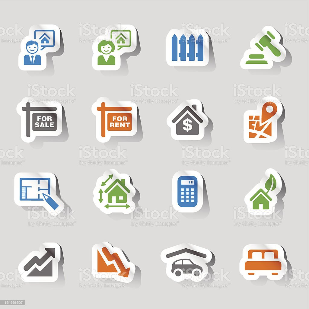 Stickers - Real Estate Icons vector art illustration