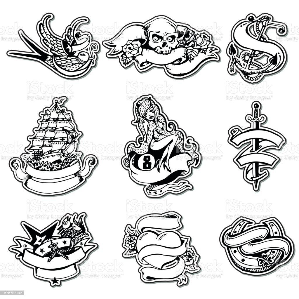 Aufkleber-Set mit Vintage handgezeichneten Elementen. Piraten und Segeln Thema. – Vektorgrafik