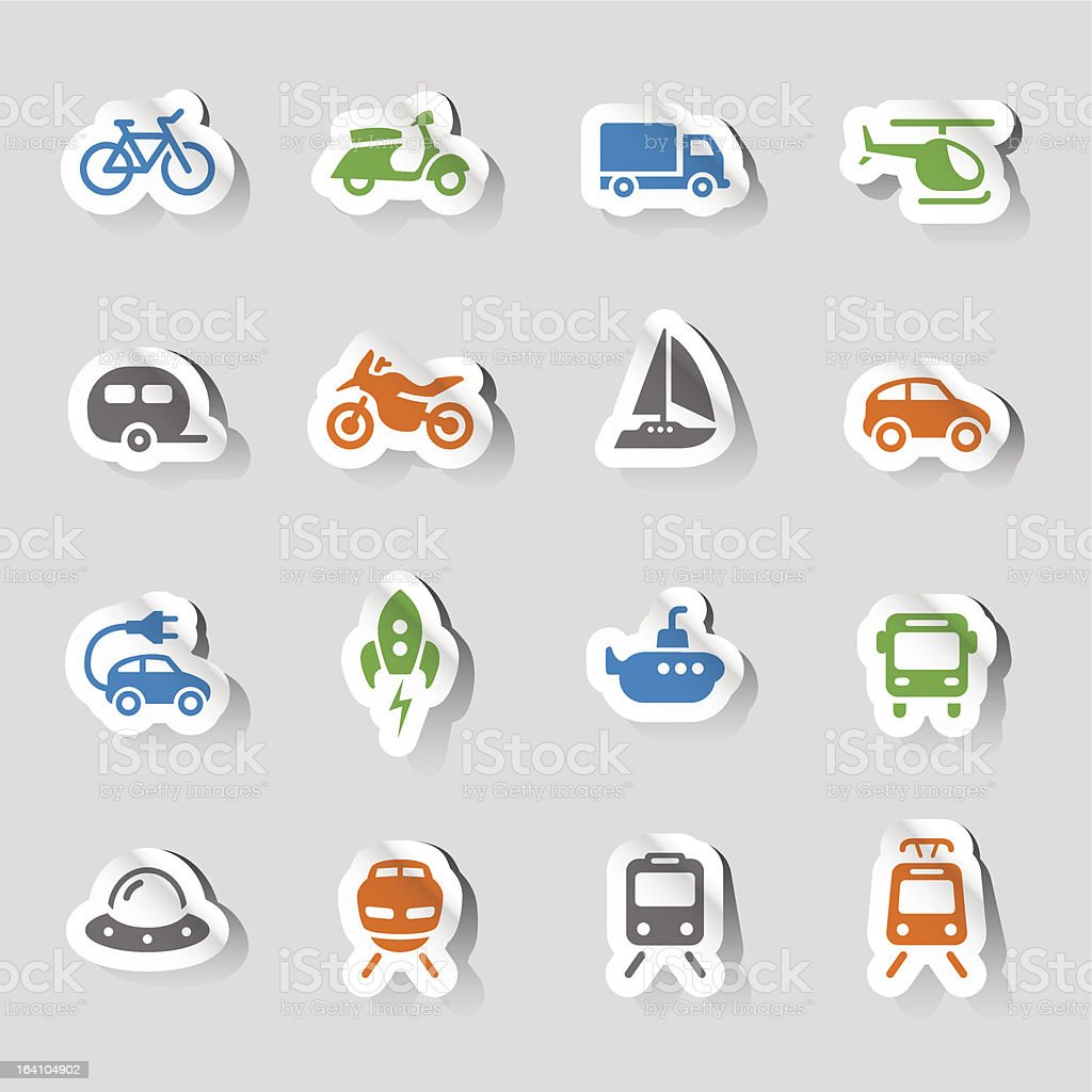 Stickers - Transportation icons royalty-free stock vector art