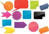 Many stickers on white isolated background