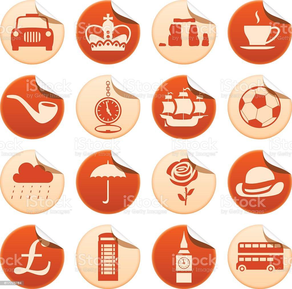 UK stickers - ilustração de arte em vetor