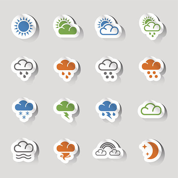 Stickers - Weather Web Icons Vector illustration, can be used at any size. Each icon is available in 4 colors (green, orange, blue and gray). Shadows could be easily moved or deleted. Files included: Vector EPS 10,  HD JPEG 5000 x 5000 px hailstorm stock illustrations
