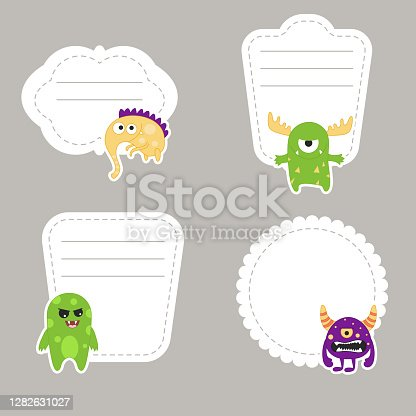 istock Stickers with cartoon funny monster 1282631027