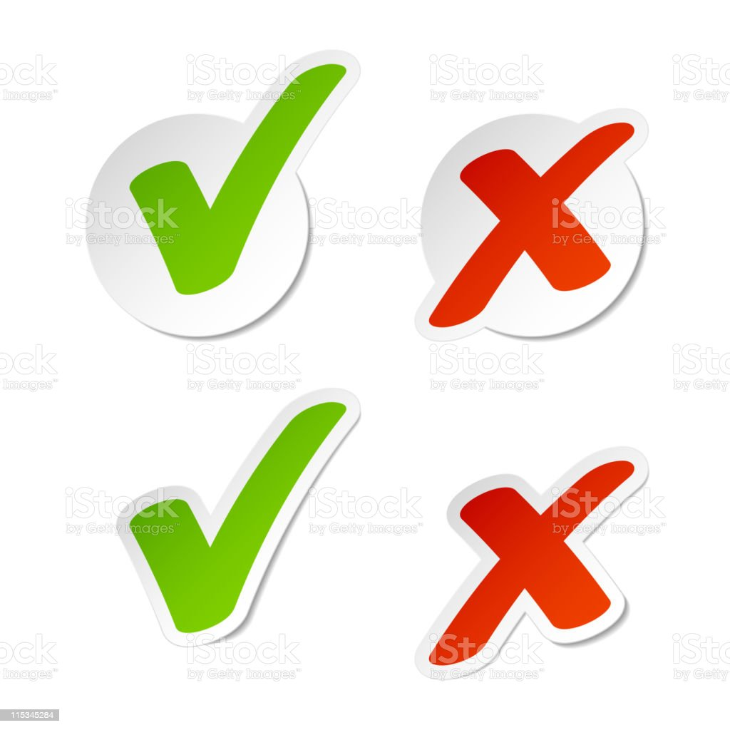Stickers with check marks and x symbols vector art illustration