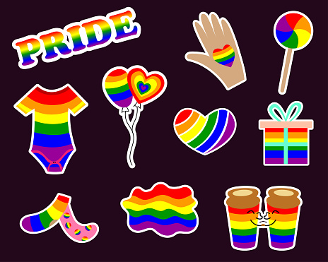 LGBT stickers with gender signs, rainbow colored clothes, food. Pride month 2021 concept. Gay parade stickers. Human rights and tolerance. Vector cartoon illustration.