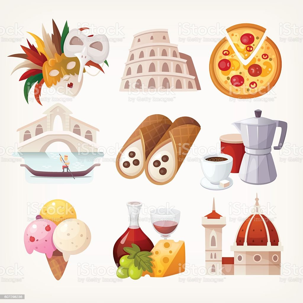 Stickers with sights and famous food of Italy. vector art illustration