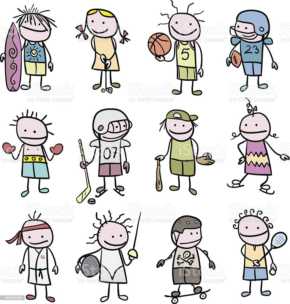 Stickfigure Children and Sports vector art illustration