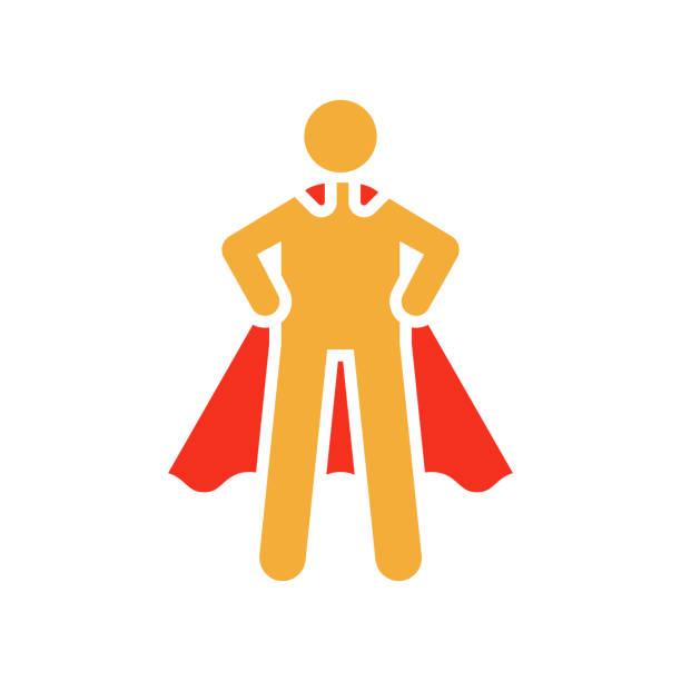 stickman charakter figur mit superhelden pose und kap. flache glyphe vektorgrafik für führung, erfolg, stärke und willenskraft - schutzengel stock-grafiken, -clipart, -cartoons und -symbole