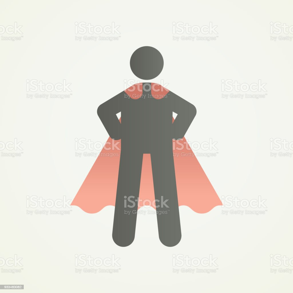 Stickman Charakter Figur Mit Superhelden Pose Und Kap ...