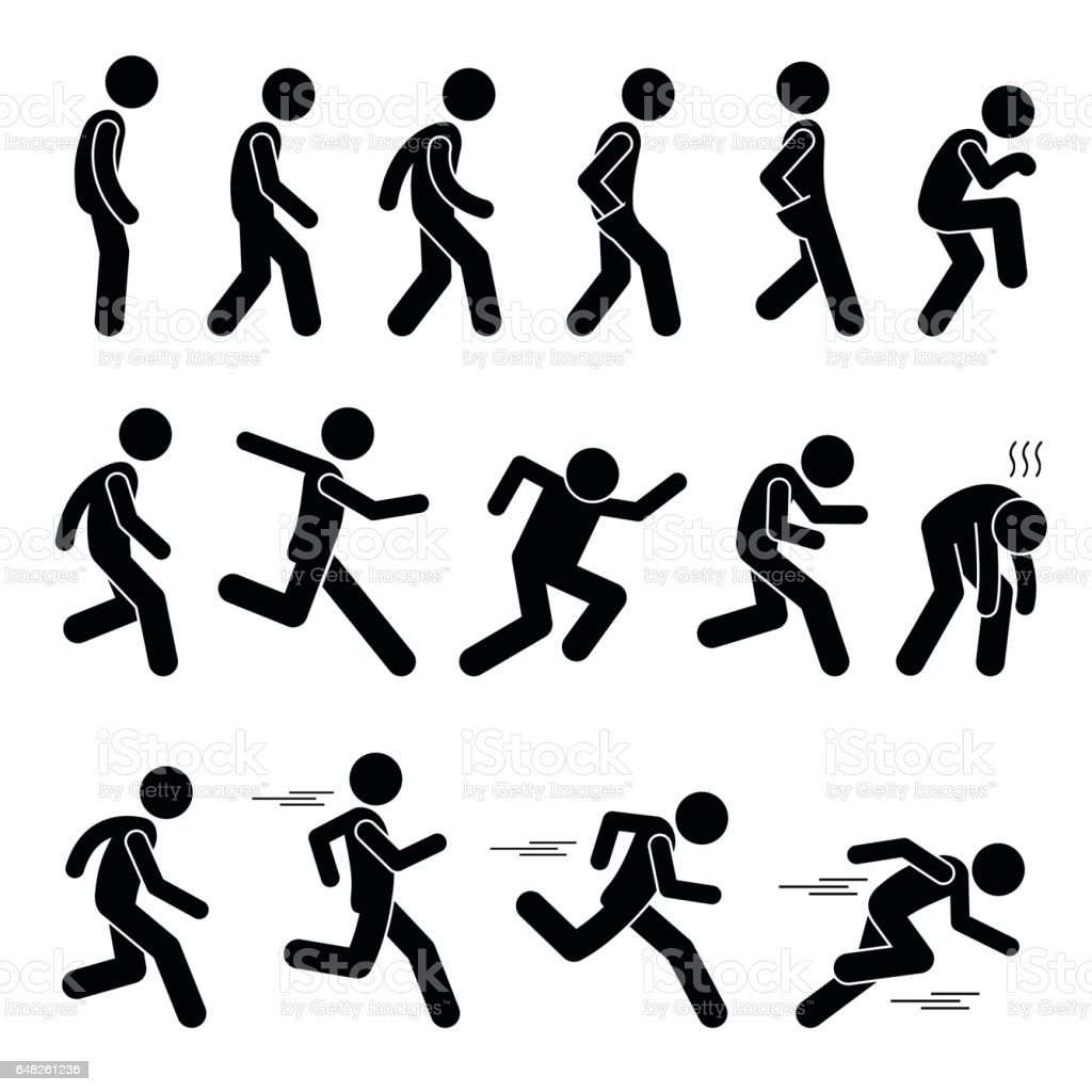 Stickman Walking And Running Poses Stock Vector Art More Images Of