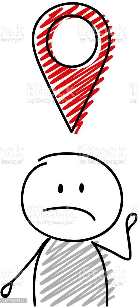 Stickman with sad facial expression holding geaotag icon. Vector.
