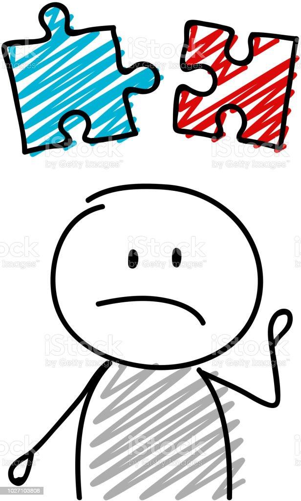 バッター パズル アイコン 成功の概念を保持している悲しい表情ベクトル