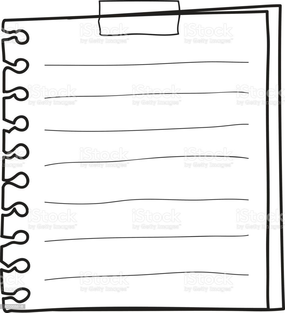 棒メモ紙手描きかわいいライン アート ベクトル イラスト - からっぽの