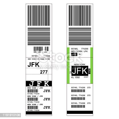 istock Sticky baggage label with JFK New York airport sign, hand luggage tag template 1191910106